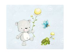 children's wall art  nursery  bear  turtle  por staceyyacula, $20.00