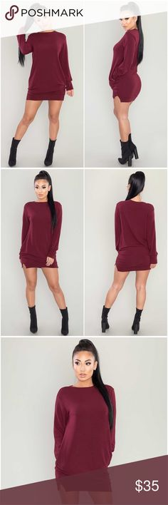 Wine Lush Sweater Dress (Arriving) A french terry knit dress featuring a pullover sweatshirt silhouette, crew neck, long sleeves, and small side slits.  - Also available in Olive. Please see separate listing.  48% rayon, 48% polyester, 4% spandex Hand wash cold Dresses