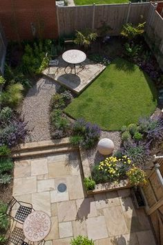 Arial view of a town house garden.