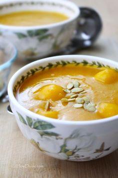"Pumpkin Porridge with Rice ""Mochi"" Dumplings makes a healthy Breakfast, Entree, or even Dessert.  {Gluten-Free, Dairy-Free, Vegan}"