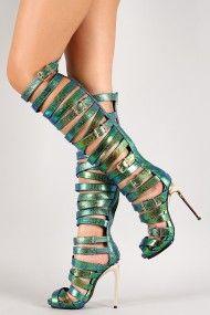 Privileged Miley Iridescent Strappy Buckle Gladiator Heel