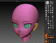 ZBrush 3d anime head modeling topology Character Modeling, 3d Character, Character Design, 3d Modeling, Zbrush Tutorial, 3d Tutorial, Face Topology, 3d Human, Blender Tutorial