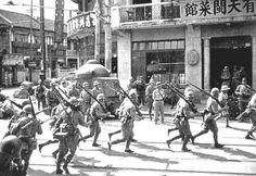 Japanese navy marine brigade sent to Shanghai during the incident between August and September 1937. Chinese soldiers fighting in urban areas had caused significant harm to civilians. Japanese troops were about a tenth of Chinese troops until reinforcements arrived. In the military confrontation with China, the Japanese had naval gunfire support and support aircraft. 武士の島