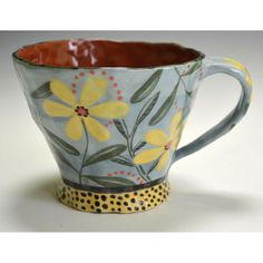 Blue Cup Yellow Dasies. by nancyandburt on Etsy, $60.00