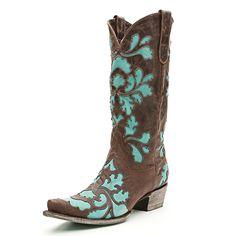 Lane Damask Turquoise Cowboy Boots
