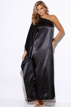 4372ccd12413b Cute cheap black satin bejeweled one shoulder kimono sleeve formal evening  party maxi dress