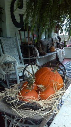 Pumpkin on the porch Autumn Decorating, Porch Decorating, Primitive Autumn, Architecture Design, Porche, Happy Fall Y'all, To Infinity And Beyond, Fall Harvest, Harvest Time