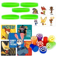 12 Guest Zootopia Party Favor Sets | Stickers, Wristbands, Stampers, Tattoos