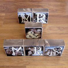 Photo Letter Blocks by Waste Not Recycled Art @Mandy Gates Fipps #PhotoLetterBlocks #PhotoBlocks #weddingideas #wedding