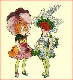 """Pansy and Larkspur  from the book """"Flower Children"""" by Elizabeth Gordon"""