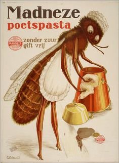 """Madneze Poets Pasta, Charles Verschuuren - because nothing says """"tidy"""" like a roach dressed as a maid."""