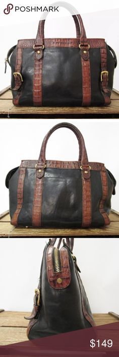 Brahmin bag black & brown doctor speedy satchel Beautiful black leather Brahmin bag with brown alligator trim, some light scuffing but great condition, the interior needs a cleaning and the handles are beginning to patina but otherwise it's beautiful and carry-ready LUA9934 Brahmin Bags Satchels