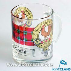 Sinclair Clan Crest Glass Mug