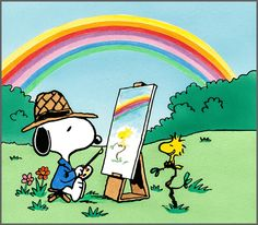 Snoopy and Woodstock - The Painter and his Model
