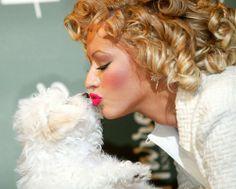 "Christina Aguilera and her BIchon Frisé  ""Lucy"","
