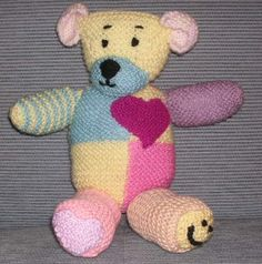 This cuddly 'Lily Bear' is made up of an assortment of different coloured and textured double knit yarn. 'Lily Bear' was designed a. Knitting Bear, Teddy Bear Knitting Pattern, Knitted Teddy Bear, Crochet Bunny Pattern, Crochet Toys Patterns, Baby Knitting Patterns, Stuffed Toys Patterns, Teddy Bears, Free Knitting