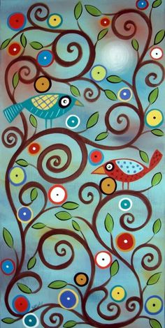 Branch Birds. Cute that the circles almost look like buttons