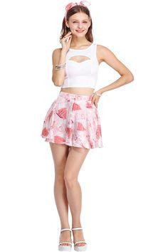 ROMWE | ROMWE Yawl Print High Waist Pink Culotte, The Latest Street Fashion