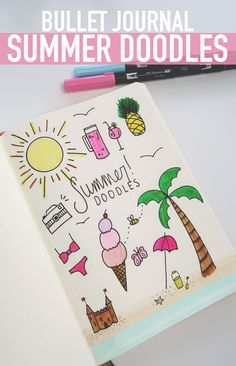 Bullet Journal SUMMER DOODLES: How to doodle tutorial