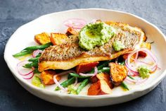 Try this no-fuss gluten-free dinner of snapper served with creamy macadamia pesto spiked with lime and coriander.