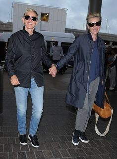 Pin for Later: Ellen DeGeneres and Portia de Rossi Hold Hands While Catching a Flight in LA