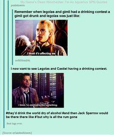 So Legolas, Castiel, and Captain Jack Sparrow walk into a bar...: