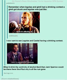 So Legolas, Castiel, and Captain Jack Sparrow walk into a bar...: <<< There is nothing of this picture and comment that I do not enjoy XD