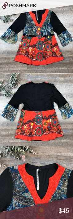 Just Living Top Bright and colorful patterned Just Living top! Cute knit top with bell sleeves, beaded waist. In great condition. 100% polyester. Size 2. D-15 Just Living Tops
