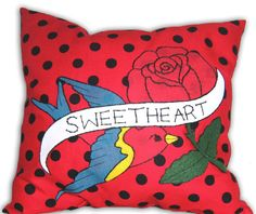Applique Pillow with Swallow Tattoo in Red and Black by Dollydripp, £22.00