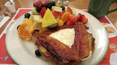 Cora's 1990's Harvest… French toast with brioche, egg, bacon and so much fruit!!!