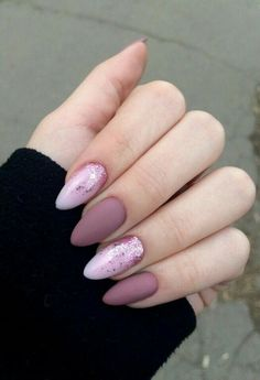 Matte and glitter gel nails pink glitter nails, baby pink nails acrylic, classy acrylic Cute Nails, Pretty Nails, Pink Glitter Nails, Almond Nails Pink, Purple Nail, Matte Pink Nails, Matte Nail Art, Acrylic Nails Almond Natural, Pink Black Nails