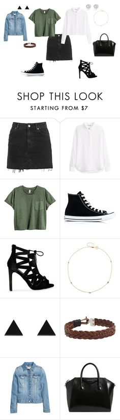 """2 Ways to wear that black skirt."" by annexx00 ❤ liked on Polyvore featuring Topshop, H&M, Converse, Jennifer Zeuner, Wolf & Moon, MANGO and Givenchy"