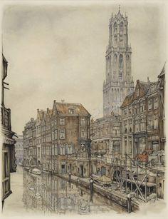 Utrecht, Oude Gracht, met Domtoren. Plaat voor kalender 1962. Potlood en waterverf.