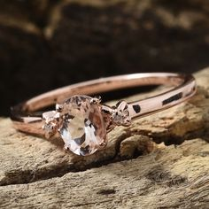 Marropino Morganite, Diamond Accent Vermeil RG Over Sterling Silver Ring (Size TGW cts.