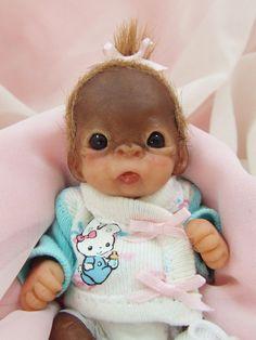 OOAK Baby Orangutan Monkey Girl Sculpted Polymer Clay Art Doll Easter Bunny #Dolls