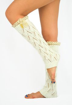 Knitted+boot+socks+IVORY+Lace+leg+warmers+Women's+by+JuicyBows,+$28.00