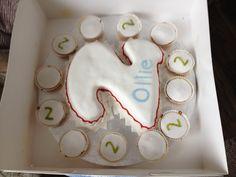 Number 2 dinosaur themed birthday cake