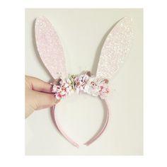 Floral Bunny Headband /White Bunny Ears/Rabbit by nashandwillow