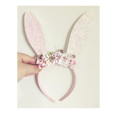 Floral Bunny Headband /White Bunny Ears/Rabbit by nashandwillow