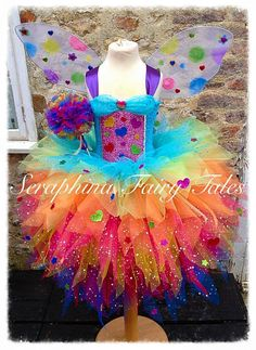 Lined 7 layer OTT Glitter Rainbow Princess Birthday / Gala/ Party Dress with Matching Wings. Lined 7 layer OTT by SeraphinaFairyTales Diy Tutu, Baby Princess, Princess Birthday, Birthday Tutu, Robes Tutu, How To Make Tutu, Rainbow Tutu, Toddler Tutu, Feather Dress
