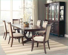 Traditionally styled, this handsome Alyssa Dining Room Set by Coaster Furniture will add richness and elegant style to your dining room. The deep dark cognac finish brings warmth and depth to the collection that you are sure to love. Flared legs, turned f Dining Room Furniture Sets, Coaster Fine Furniture, Dining Room Sets, Dining Room Design, Dining Room Chairs, Side Chairs, Wolf Furniture, Furniture Design, Hooker Furniture