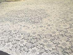 """Vintage Quaker Lace Cottage Tablecloth Ornate Floral Design White 52""""x76"""" K  #Quakernotag"""