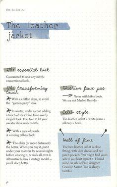 p.36  Tan leather Jacket + white jean + silk top + heels