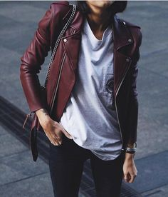 burgundy leather