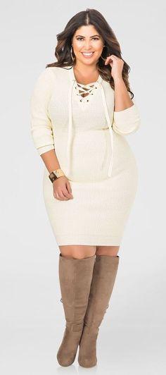 61bd62748af Plus Size Lace-Up Bodycon Sweater Dress Plus Size Sweater Dress