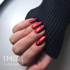 red chrome nails