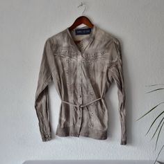 Size large grey blouse womens rustic shirt by EthicalLifeStore