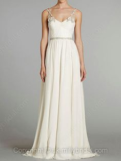 A-line Spaghetti Straps Chiffon Sweep Train White Beading Wedding Dresses -USD$237.23