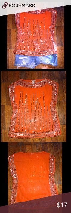 """H&M Orange Sequin Top This sequin top is so beautiful. One of my faves but unfortunately I can't fit in it anymore. Very thin material could wear an under tank top or if you're brave you can just wear a bra lol! Approximate flat measurements from armpit to armpit is 18"""". H&M Tops Blouses"""