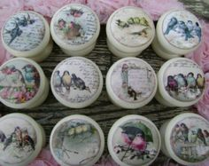 Set of 10 assorted birds, shabby vintage Tweeters, cream 45mm decoupage knobs